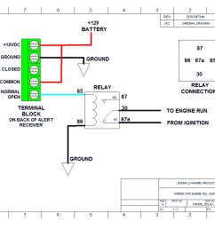 wiring diagram for attaching an external alarm or strobe using a single pull relay for use with either alert2 or alert418 receivers  [ 1058 x 832 Pixel ]