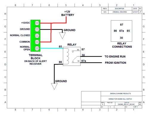 small resolution of wiring diagram for attaching an external alarm or strobe using a single pull relay for use with either alert2 or alert418 receivers