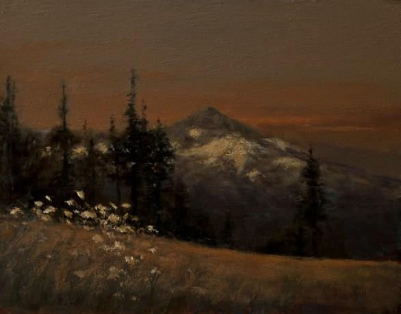 Sandee Burman - Mount Hood - Day's End, oil on board