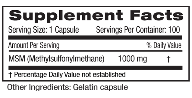 MSM 1000mg Supp Facts