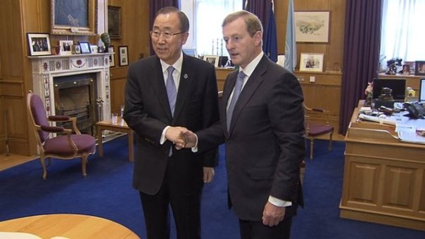 Enda Kenny meeting UN Secretary of State Ban Ki-moon at Government Buildings