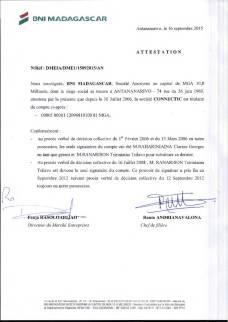 Attestation BNI RANARISON Tsilavo est le seul signataire des comptes de CONNECTIC