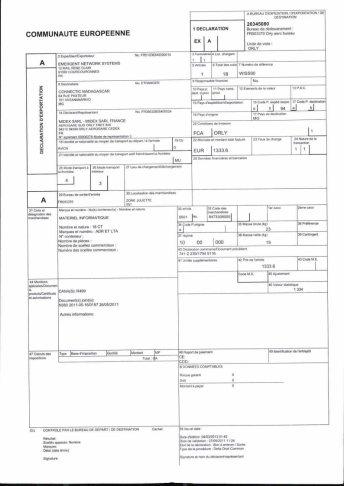 Envoi d'EMERGENT à CONNECTIC dossier douanes françaises EX1 2011_Page13
