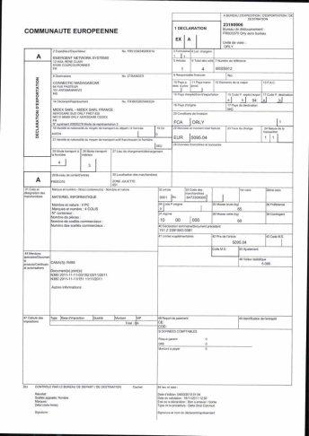 Envoi d'EMERGENT à CONNECTIC dossier douanes françaises EX1 2011_Page26