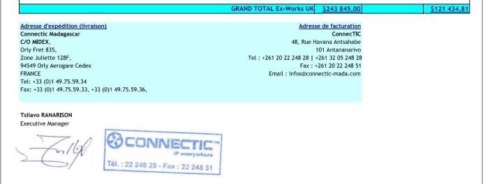 Bon de commande de 121.434,81 USD de CONNECTIC à la société WESTCON