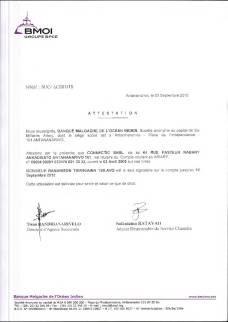 RANARISON Tsilavo est le seul signataire des comptes BMOI de CONNECTIC
