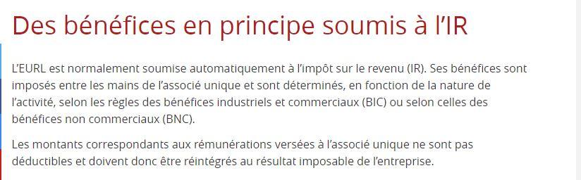 EMERGENT NETWORK est une EURL française assujettie au régime des sociétés de personne donc le bénéfice de la société correspond au revenu de Solo