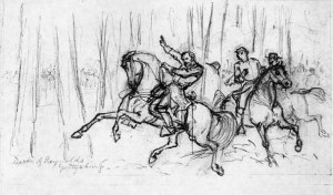 Waud's sketch of Reynolds death.