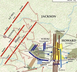 Jackson's flank attack, with Rodes' division in the front line (Courtesy of CWT)