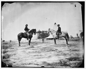 A photograph of George Custer and Alfred Pleasonton. Custer joined Pleasonton's staff in May 1863. Courtesy of the Library of Congress.