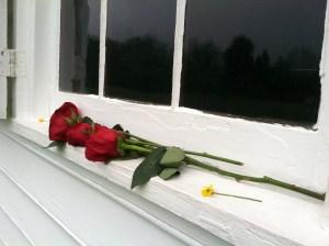 Roses left at the Shrine