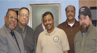The founding members of the 23rd Regiment United States Colored Troops in January 2011. Left to right Reverend Hashmel Turner, Horace McCaskill, Col. Retired US Army, Steward T. Henderson, Roger Braxton, and John Cummings at the John J. Wright Museum