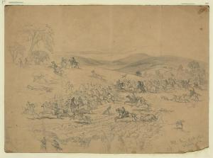 The cavalry fight at Aldie, June 17 1863. Sketch by Edwin Forbes. Courtesy of the Library of Congress