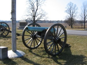 Federal guns atop Blocher's Knoll. The flagpole in the left of the photo was erected by survivors of the 17th Ct. and marks the approximate location of where Lt. Col. Fowler was decapitated.