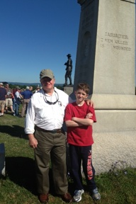 Rusty Morgan and his grandson Connor in front of the Buford statue, spending the day with Savas Beatie authors.