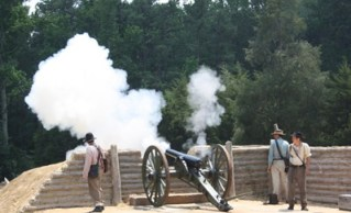 Firing a cannon at the Fortifications Exhibit