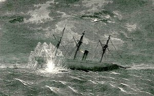 This sketch depicting the torpedo strike on the USS Housatonic appeared in Frank Leslie's Illustrated Newspaper, March 1864.