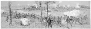 Union artillery bombard enemy lines at Cold Harbor. Courtesy of the Library of Congress.