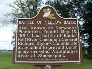 Historical Marker for the Battle of Yellow Bayou, the last engagement of the Red River Campaign
