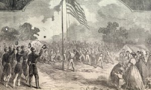 Harpers Weekly Depiction of the Union Flag Being Raised on the 4th of July, 1861.