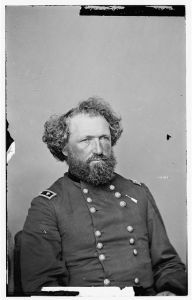 Brigadier Mortimer D. Leggett commanded the 3rd Division of 17th Corps, which Manning's Force was part of. Bald Hill was later renamed Leggett Hill in honor of their commanding officer. For his actions in the Atlanta Campaign, Leggett was promoted to Brevet Major General.  (Library of Congress)