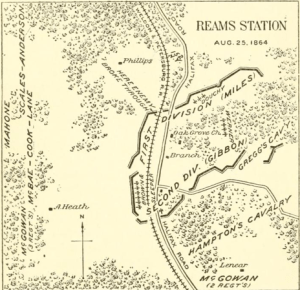 """An image from Francis Walker's """"History of the Second Corps"""" which shows the positions of the Second Corps at Ream's Station. Note how the works jut out beyond the railroad."""