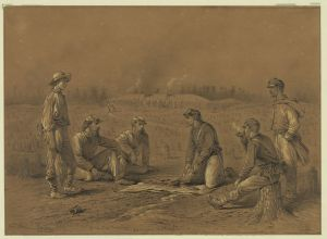 Pickets trading between the lines. Sketch by Edwin Forbes. Courtesy of the Library of Congress.