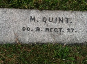 Monroe Quint's grave site in the National Cemetery. (Photo by Ryan Quint)