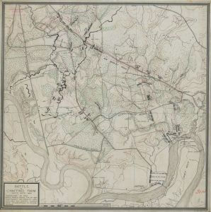 Showing the larger actions of the Battle of Chaffin's Bluff, the Battle of New Market Heights is included on the right side, near Deep Bottom. (Courtesy of the Civil War Trust)