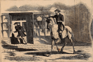 A drawing of the shooting of Elinus J. Morrison, as depicted in the Nov.  12, 1864 edition of 'Frank Leslie's Illustrated Newspaper.' Morrison was in actuality standing up in some scaffolding on the side of a building.