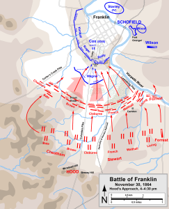 The Confederate assault at Franklin completely routed the brigades of John Lane and Joseph Conrad, as well as split a 200-yard gap in the main Federal line. Map by Hal Jesperson. cwmaps.com