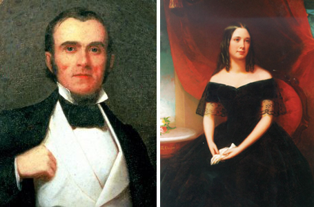 (Left) John McGavock, ca. 1848.  (Right) Carrie Winder McGavock, ca. 1848.  Both images are oil on canvas painted by Washington Bogart Cooper. Images courtesy of Historic Carnton Plantation.