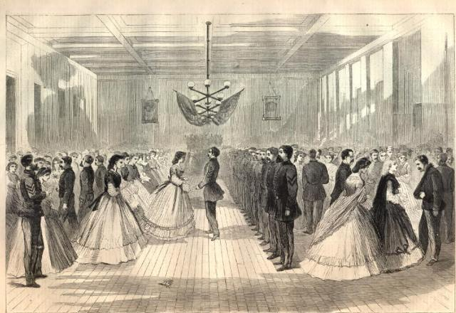 Soldiers' Ball at Huntsville, Alabama from the April 9, 1864 edition of Harper's Weekly.  Image courtesy of Son of the South.