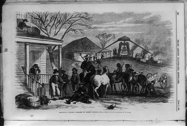 'Sherman's bummers foraging through South Carolina,' image courtesy of the Library of Congress.