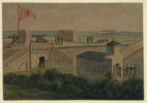 Fort Moultrie, Charleston Harbor by A. Vizitelly c.1861. Courtesy of the Library of Congress.