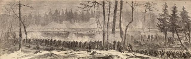 """Action of the Second Division, Fifth Corps, with the Rebels on Rowanty Creek."" Harper's Weekly"