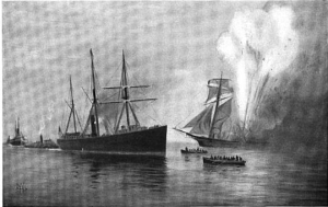 "The ""Caleb Cushing"" exploded around 2 PM on June 27, 1863.  (Image from ""The Rudder"", Vol. 16."