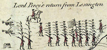 Percy's Return (Enlarged from 1775 map)  (courtesy of Wiki)
