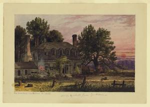 The Moore House near Yorktown, Va. by William McIlvaine. Scene of the October 17, 1781 surrender negotiations. Courtesy of the  Library of Congress
