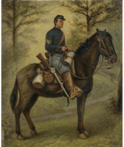 Watercolor of a trooper in the 1st New York Mounted Rifles by David E. Cronin. Held in the collections of the New York Historical Society. The 1st NYMR was posted in Williamsburg for a brief time and conducted several raids up the Peninsula.