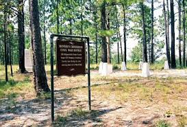 Sign indicating the location of the battlefield. In the background are graves for unknown Union dead.