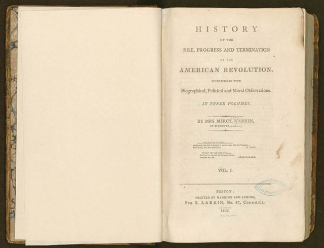 """History of the Rise, Progress and Termination of the American Revolution "" (courtesy of LOC)"