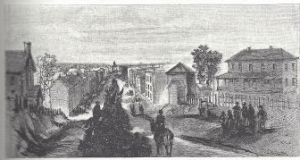 XIV Corps of the Army of Georgia entering Fayetteville. Battles and Leaders of the Civil War.