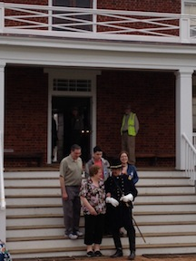 A living historian portraying Col. Eli Parker greeted visitors on the steps of Wilmer McLean's house.