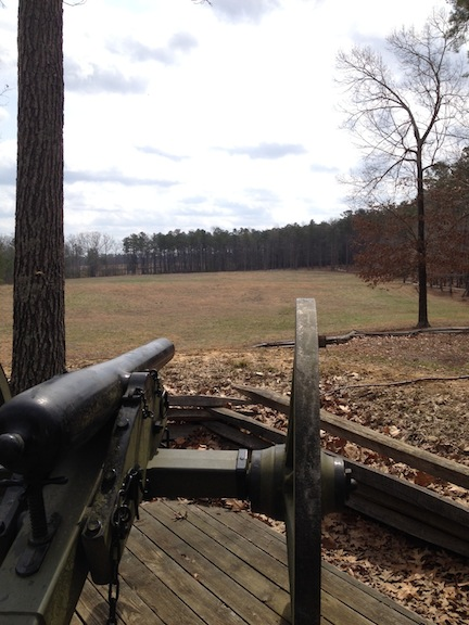 From the Confederate position, looking out across the attack plain crossed by the Vermonters