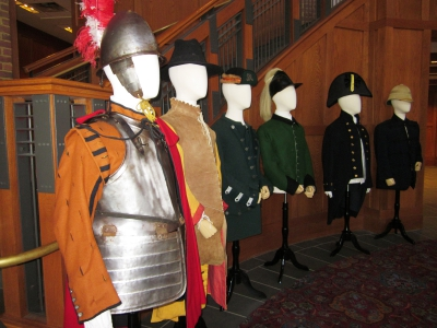 """Defending the Crown"" Exhibit, showcasing British uniforms over time (courtesy of JYF)"