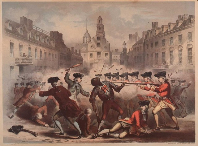 In this lithograph published in 1855, Crispus Attucks is portrayed front and center.  Crispus Attucks was lauded as the first martyr in the War for Independence much from the insistence of abolitionists like William C. Nell.  A Crispus Attucks Day was created in Boston in 1858 and a memorial placed for him and the other victims on Boston Common after the Civil War.  Despite all this, according to John Adams (who defended the British soldiers in court), Attucks was a rabble-rouser who actually helped precipitate the massacre.