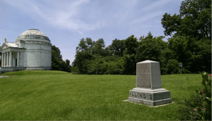 The Illinois Monument (left) and Battery D's monument (right) at Vicksburg.