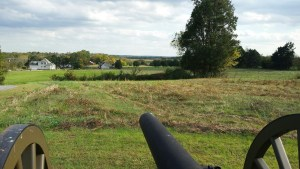The view of Cooke's charge at Bristoe Station from McIntosh's Battery