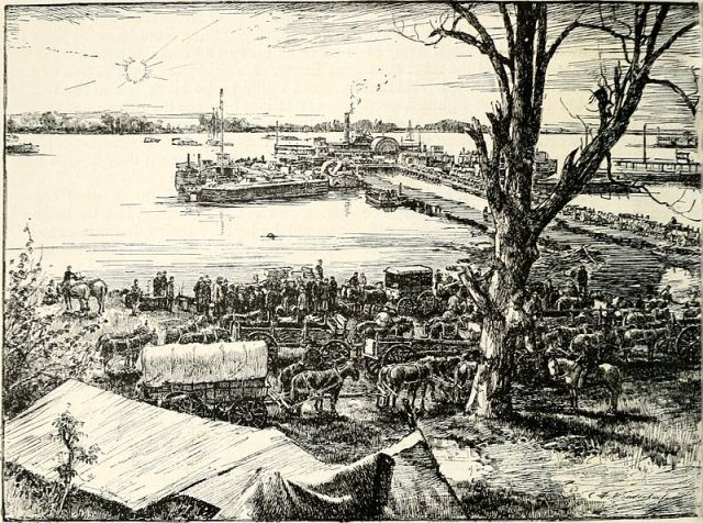 City Point was a busy supply base during the Petersburg siege. Scenes like this were familiar to Mrs. Barlow